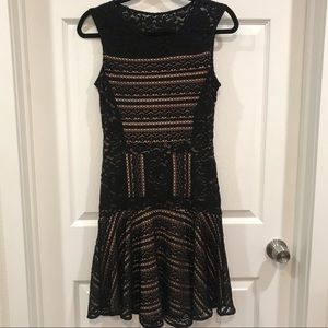 BCBG Max Azria Black and Nude Lace Mini Dress